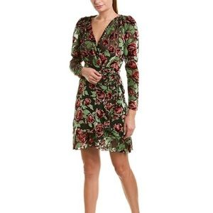 The Kooples Rose Burnout Velvet Wrap Dress size 1
